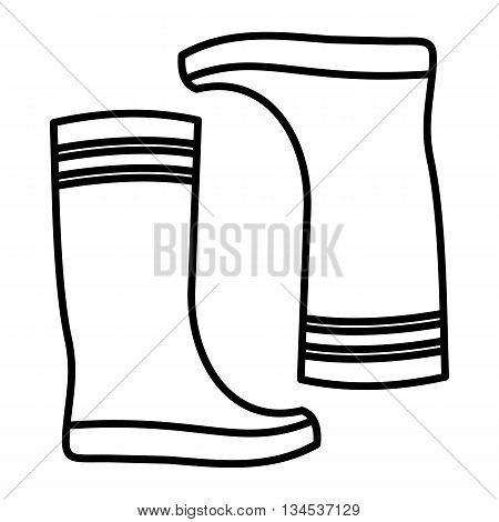 Rubber boots icon in outline style isolated on white background