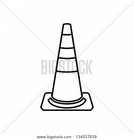 Traffic cone icon in outline style isolated on white background