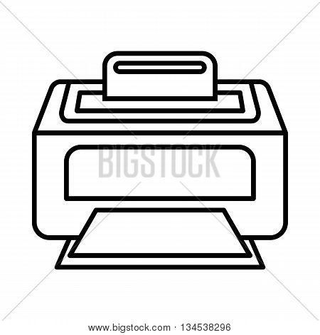 Modern laser printer icon in outline style isolated on white background