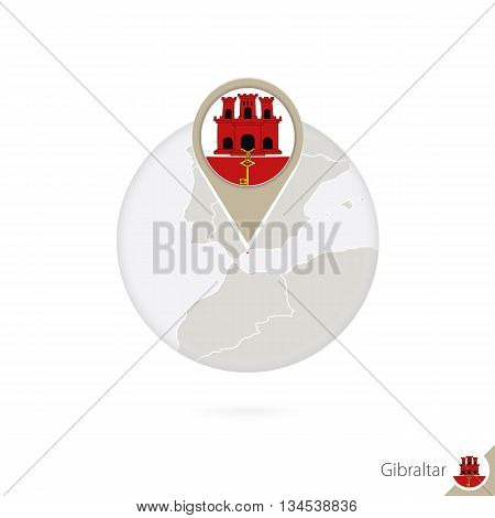 Gibraltar Map And Flag In Circle. Map Of Gibraltar, Gibraltar Flag Pin. Map Of Gibraltar In The Styl