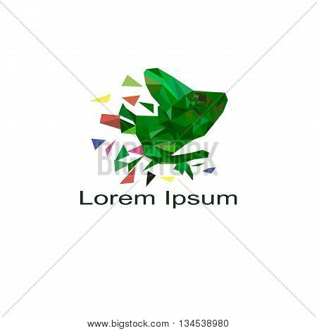 Vector Art Colorful Geometric Chameleon. Contemporary Spectrum Abstract Background Illustration. Ani