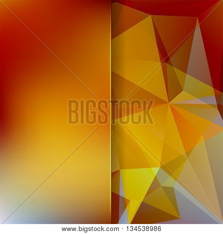Abstract Background Consisting Of Yellow, Orange, Brown Triangles And Matt Glass