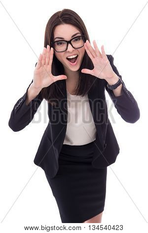 Stressed Young Business Woman Screaming Isolated On White
