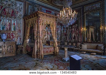 FONTAINBLEAU, FRANCE - MAY 16, 2015: This is internal Emperor apartment in the castle Fontainebleau.
