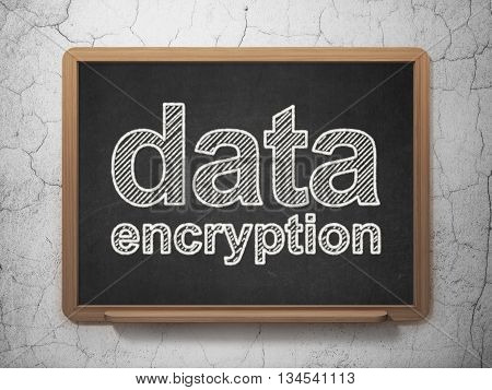 Safety concept: text Data Encryption on Black chalkboard on grunge wall background, 3D rendering