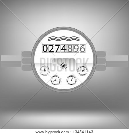Water Meter Icon Isolated on Grey Background. Devise for Measuring Water Cosumption.