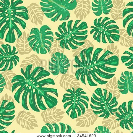 Abstract exotic seamless pattern with monstera leaves vector illustration