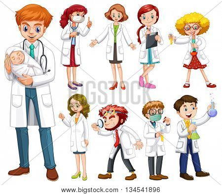 Doctors and scientists in white gown illustration