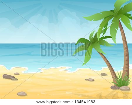 Tropical beach. Vacation nature background with palm tree sand and sea.