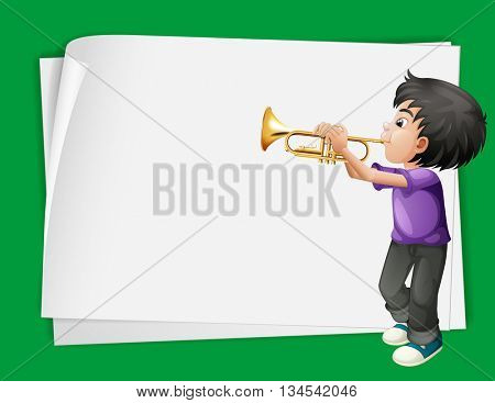 Paper template with boy playing trumpet illustration