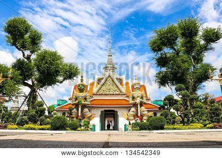 Wat Arun on bright blue sky. Thailand.