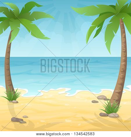 Two palm trees on the beach. Sea beach with palm tree sea and sky. Vacation travel background.