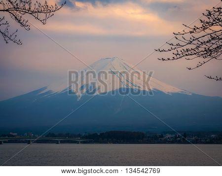 Fuji Mountain In Japan At Sunset Scene With Lake