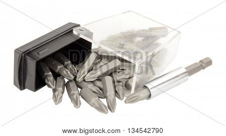 Open plastic box of screwdriver bits isolated on a white background
