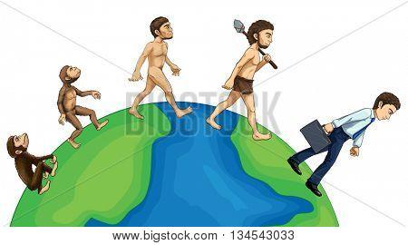 Evolution of human on earth illustration