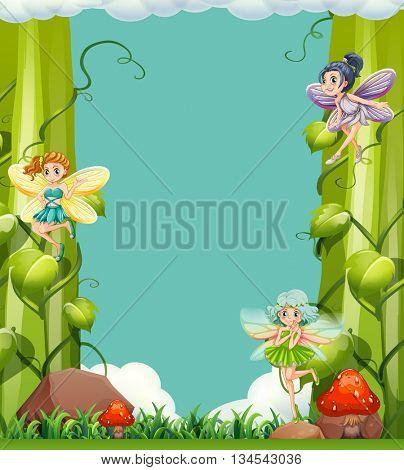 Scene with fairies in the garden illustration