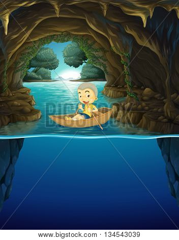 Little boy rowing boat in the cave illustration