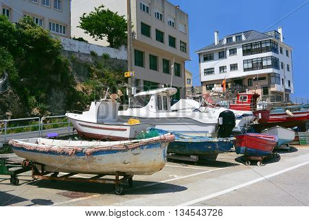 Colorful fishing boats in Galicia, Spain. Photo taken on June 6th, 2016