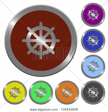 Set of color glossy coin-like steering wheel buttons.