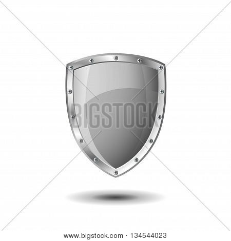 Empty metallic shield on a white background.