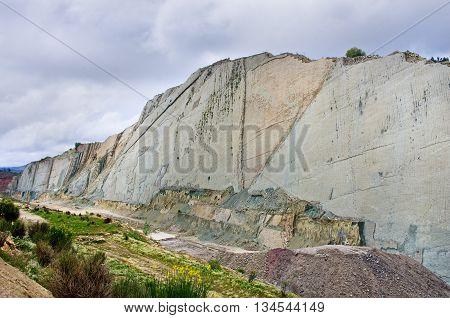 Dinosaur Tracks On The Wall Of  Cal Orko, Sucre, Bolivia