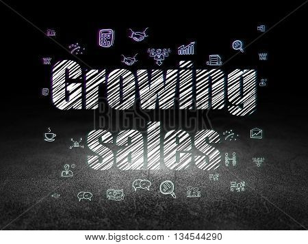 Finance concept: Glowing text Growing Sales,  Hand Drawn Business Icons in grunge dark room with Dirty Floor, black background