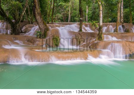 Waterfall In Rain Forest (tad Sae Waterfalls At Luang Prabang, Laos)