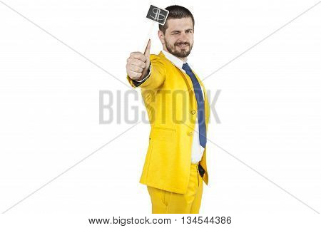 Businessman Holds In His Hand Dollar Symbol