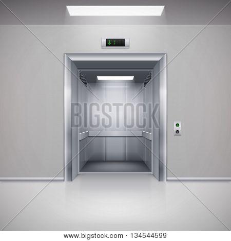 Realistic Empty Modern Elevator with Open Door