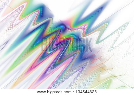 Color waves on white background. Abstract rainbow fractal texture. Fantasy design for greeting cards or t-shirts.