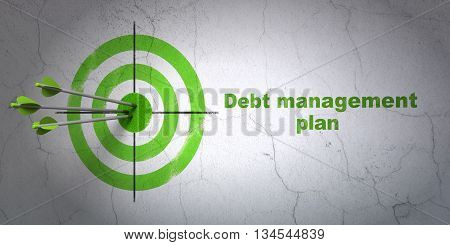 Success business concept: arrows hitting the center of target, Green Debt Management Plan on wall background, 3D rendering