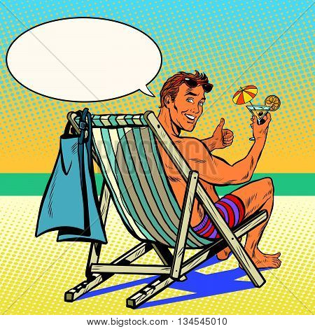 Handsome man resting on the beach pop art retro vector. The man in the recliner. Retro vacation at sea