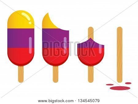Vector stock of popsicle ice cream in different stages of eating