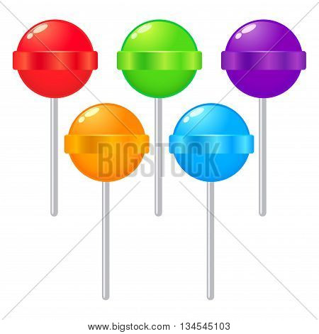 Vector stock of colorful sweet lollipops candy on stick