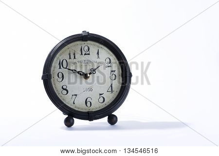 small brown vintage clock old white background