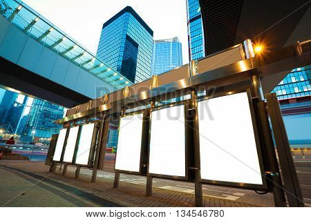 HongKong modern city advertising buildings backgrounds light boxes