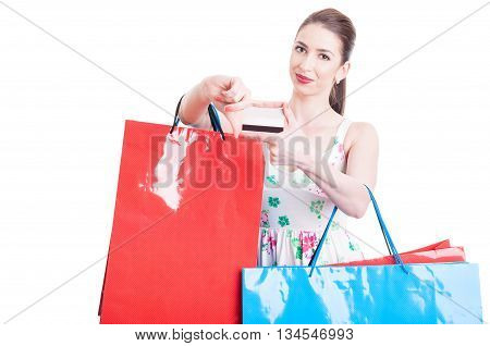 Pretty Lady Holding Shopping Bags And Credit Or Debit Card
