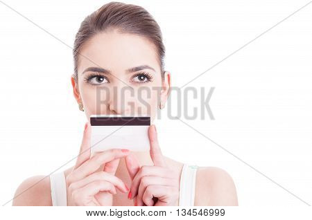 Beautiful Woman Face With Covered Mouth By Credit Debit Card