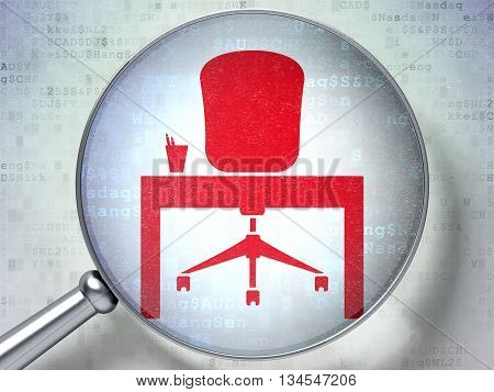 Finance concept: magnifying optical glass with Office icon on digital background, 3D rendering