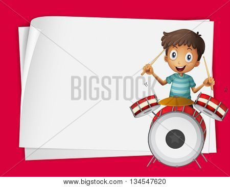 Paper design with boy playing drums illustration