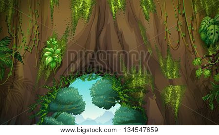 Nature scene with cave and trees illustration