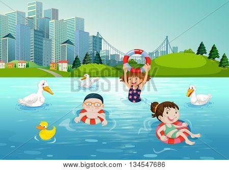 Children swimming in the lake illustration