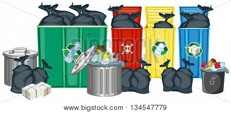 Trashcans full of trash and bags illustration
