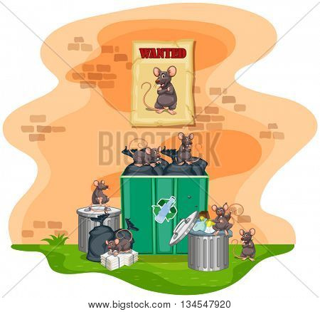 Garbage cans full of trash and rats illustration