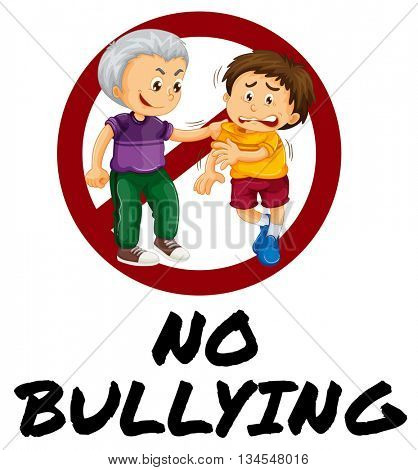 Sign warning for no bullying illustration