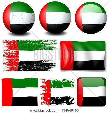 United of Arab Emirates flag in different designs illustration