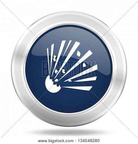 bomb icon, dark blue round metallic internet button, web and mobile app illustration