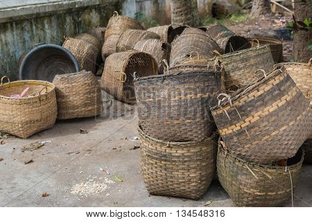 Old Wicker Basket Use For Garbage Bin