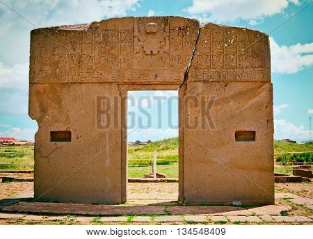 Gate of the sun kalasasaya temple Tiwanaku. Ruins in Bolivia Pre-Columbian archaeological site.