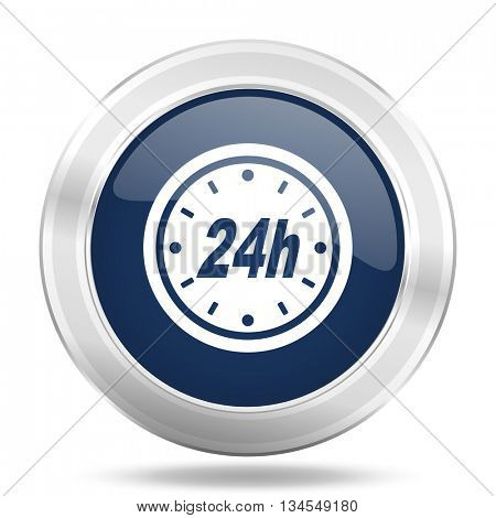 24h icon, dark blue round metallic internet button, web and mobile app illustration